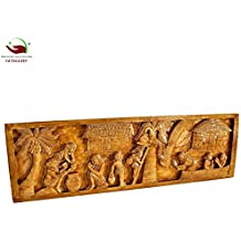 GITAGGED | Bastar Tribal Home Decorative Wooden Craft - The Salfi Village Art | Size - (23 * 75) cm | Authentic Handcrafted Art with Teak Wood Finish