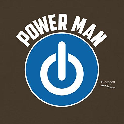 Geschenk für Männer zum Geburtstag :-: Herren T-Shirt als Geschenkidee für Ihn zum runden Geburtstag Papa Opa :-: Power Man :: Farbe: braun Braun