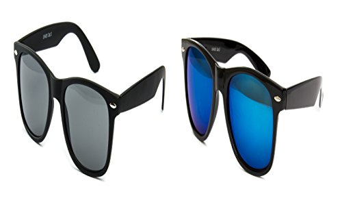 2 er Set Partybrille Sonnenbrille Brille Schwarz Matt Gummiert + Blau Verspiegelt