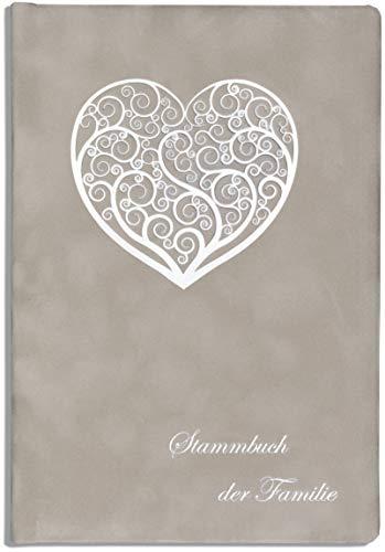 Stammbuch der Familie Hochzeit Sird Ornamentherz Samt grau Ringmechanik (Silberne Hochzeit Sand)