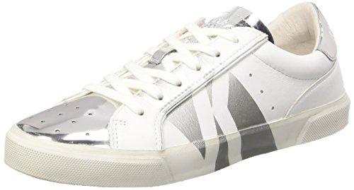 Bikkembergs Rubb-er 670 L.shoe W Leather/Shiny S.leather, Pompes à plateforme plate femme Bianco (White/Silver)