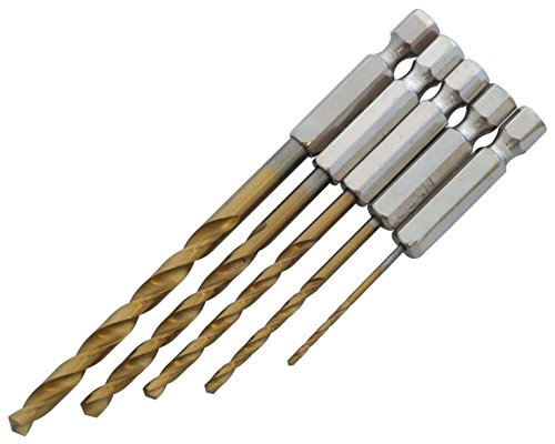 5pièces 1/10,2cm Forets en acier rapide à revêtement en titane