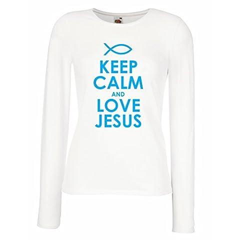 Weibliche langen Ärmeln T-Shirt Christliche geschenke Liebe Jesus christliche geschenkideen (Small Weiß