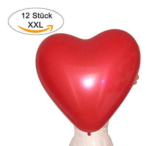 12 Riesen Herz-Luftballons XXL ROT - Umfang ca. 200cm - Qualitätsware für Hochzeit, Flitterwochen, Geburtstag, Überraschung (12, Rot)