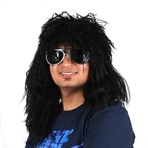 PKQ® Perücken Herren, Natural Long Locken Männer Perücke Lang Wave Curly Haar Kunsthaar Haarteile für Cosplay Party Club Bar Festival Halloween Fasching, Einheitsgröße,Black -