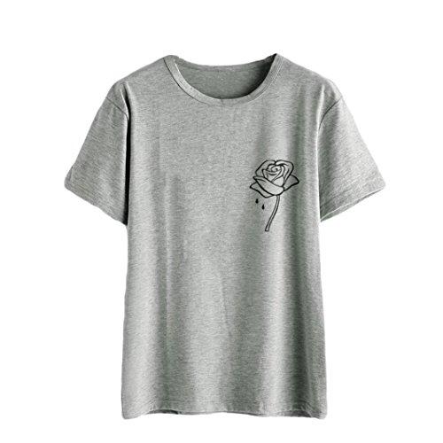 -Shirt Casual Rosen Druck Kurzarm Oberteil Tops Bluse Shirt Crop Tops (Top-teen-halloween-kostüme)