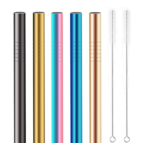 Stainless Steel Boba Straws 5 Pcs, [Extra Wide ] Reusable Smoothie Straws (12MM) - Great for Bubble & Boba Tea, Milkshakes, Multi-Colored Metal Drinking Straws by YANGTE