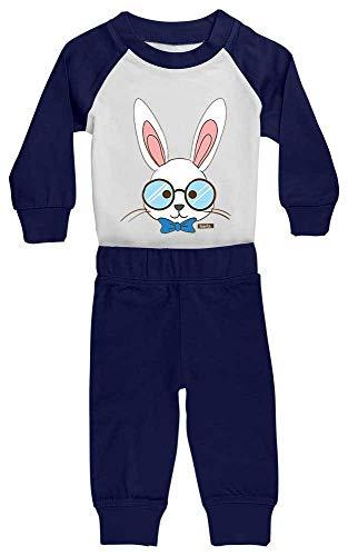 HARIZ Baby Pyjama Hase Mit Brille Tiere Zoo Plus Geschenkkarte Weiß/Navy Blau 6-12 Monate