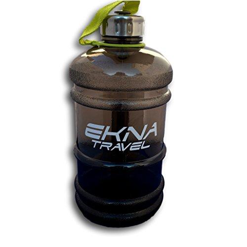 EKNA Bottle | 2.2 Liter | Wasserflasche | Trinkflasche | Wasser Gallone | Ideal für den täglichen Wasserbedarf | Für den Alltag, Fitness oder Reisen | BPA Frei | Mit Füllstandsanzeige (schwarz)