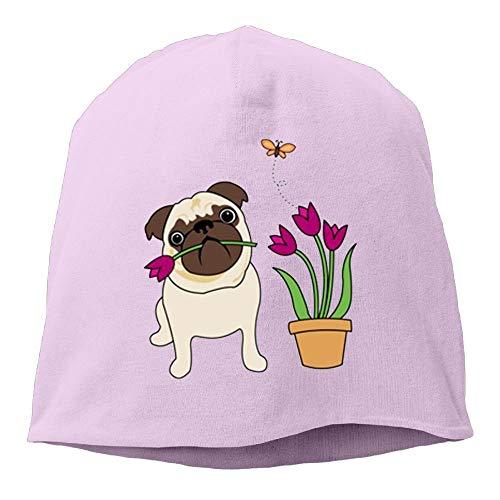 deyhfef White Tulip Pug Women/Men Wool Hat Soft Stretch Beanies Skull Cap Unisex Multicolor38