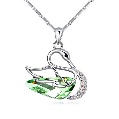MURTOO Collier plaqué or avec pendentif en forme de Cygne en Cristal Swarovski Element NEUF Livraison gratuite Couleur Vert