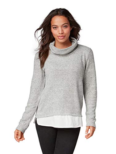 TOM TAILOR Casual Damen Sweatshirt 2in1 modischen Turtle Neck, Grau (Silver Grey Melange 11282) Large