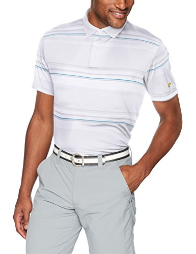 Jack Nicklaus Herren Gradient Stripe Short Sleeve Polo Shirt Poloshirt, Bright White, XX-Large