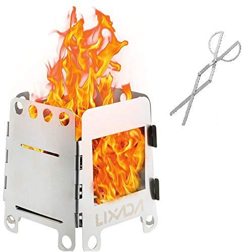 Lixada Estufa de Acampada Portátil Ligero Plegable Estufa de Leña para Cocina Cámping Mochilero al Aire Libre