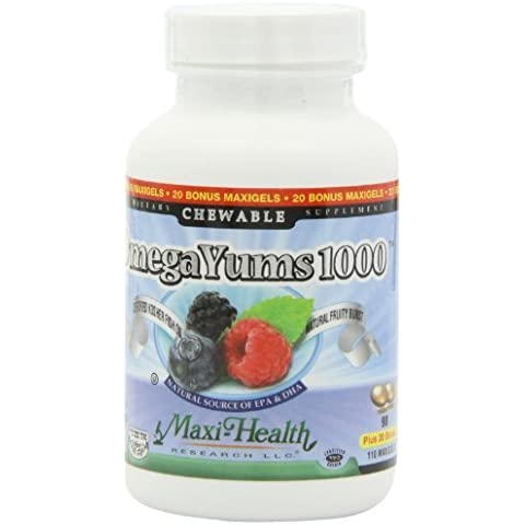 Maxi Health Omega Yums 1000 - Kid Friendly , Fruity Burst Flavor , 110 Softgel Capsules , Kosher by Maxi