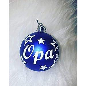 1 Weihnachtskugel personalisiert mit Namen und Sterne in blau matt