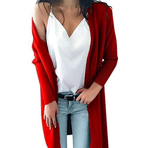 REALIKE Damen Elegant Einfarbig Taschen Langarm Strickjacke Vintage Patchwork Slim Gestrickt Mäntel Casual Lang Coat Mode Basic Jacket Trenchcoat Outwear Trench Winterjacke (S, rot)