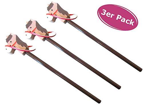 Bleistift Pferd (Steckenpferd) Radiergummi, 3er Set - ausgefallener Bleistift mit Radierer, Pferdest