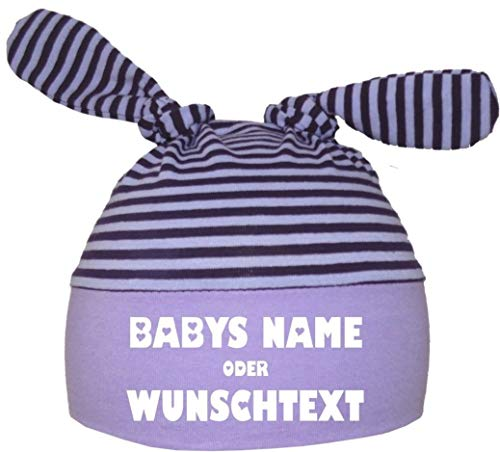 KLEINER FRATZ Baby 2-Zipfel Mütze (Farbe flieder-flaume) (Gr. 3 (KU: 53-57) (Gr. 98-122) mit Ihrem Wunschtext