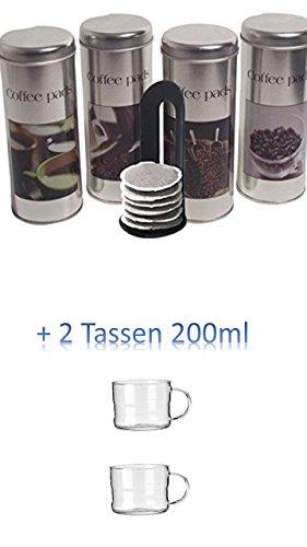 4 Metalldosen zur aromaschonenden Aufbewahrung von bis zu 20 verschiedenen Pads pro Dose. Passend für alle gängigen Padgrößen mit Padlifter + 2 Glastassen 200ml mit Henkel