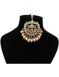 Retailbees Meena Kundan Gold Plated Bridal Pearls Designer Maang-Tikka Set For Women