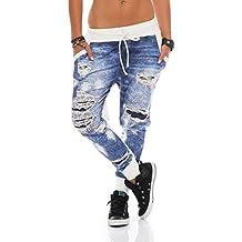 ZARMEXX Mujer Jogpants estampado vaquero Aspecto Usado Pantalón chándal Jogger Pantalones informales Talla Única