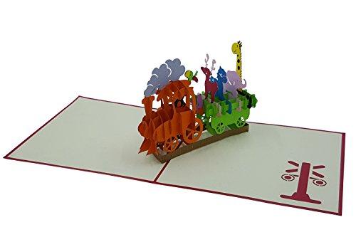 3D Geburtstagskarte - Geburtstags-Zug mit detailverliebten Tieren (Affe, Papagei, Eichhörnchen, Elch, Pony, Elefant & Giraffe) - Pop-Up-Karten - handgefertigt - inclusive Umschlag und Schutzhülle - Gruß-Karte, Glückwunsch-Karte, Geschenk-Karte