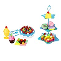 Keepwin Birthday Party Fruit Cake Toys Pretend Food Playset for Children Boys Girls - DIY Cutting Pretend Play Birthday Party Cake with Candles, 86PCS - Children Early Development and Education (Blue)