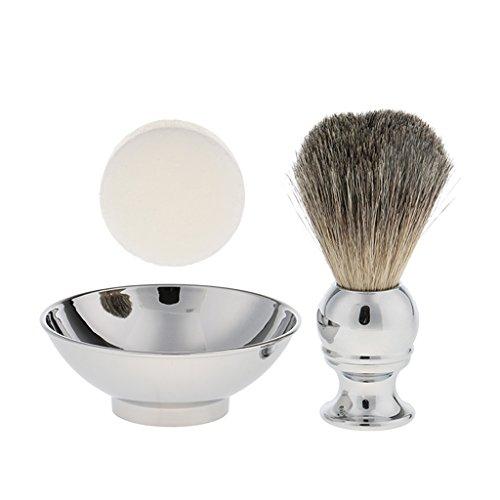 Sharplace Blaireau de Rasage en Poils de Sanglier Doux et Confortable + Bol à Savon à Barbe en Alliage + Cire Baume à Barbe - Kit Outil de Rasage