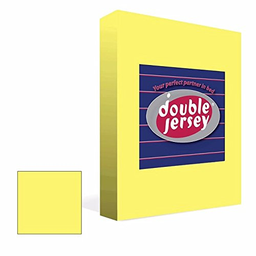Double Jersey - Spannbettlaken 100% Baumwolle Jersey-Stretch bettlaken, Ultra Weich und Bügelfrei mit bis zu 30cm Stehghöhe, 160x200x30 Gelb - 2