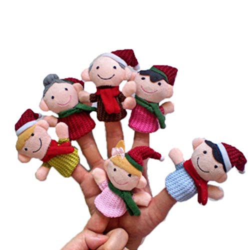 EisEyen 6 Stücke Familie Fingerpuppen Weihnachtsgeschichte Fingerpuppen Plüschpuppe Stofftier Geschenk für Baby Kinder