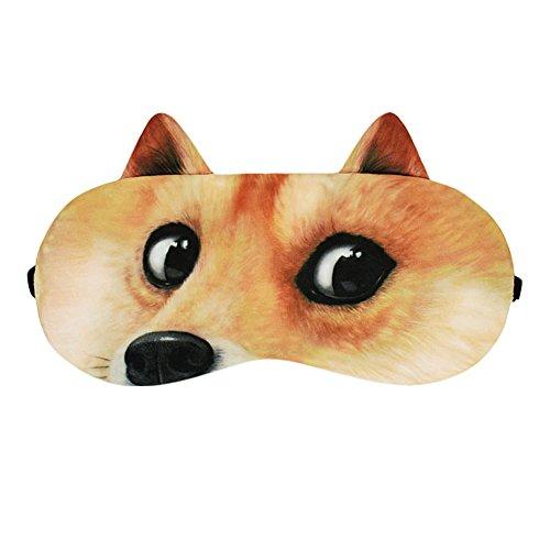 Remeehi - Pack de máscara de hielo 3D Fuuny creativo para cara de perro con ojos de dibujos animados para dormir para el hogar y viajes, ideal como almohada para el ojo de avión