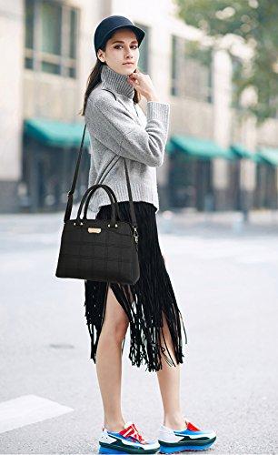 NICOLE&DORIS Neu Frauen Handtaschen Umhängetasche Damenhandtaschen Henkeltaschen Schultertaschen Gitter Shopper Bag Wasserdicht PU Hellblau Schwarz
