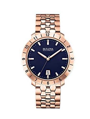 Bulova-Accutron-II-Mens-Quartz-Watch-with-Blue-Dial-Analogue-Display-and-Rose-Gold-Ion-Plated-Bracelet-97B130