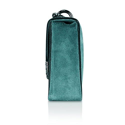 Glamexx24 Damen Clutch echt Leder Tasche Abendtasche mit Kette Handtasche Made in Italy 1.007.10 Wasser Green