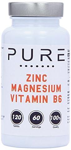 Bodybuilding Warehouse Pure Zinc, Magnesium and Vitamin B6 120 Tablets