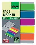 Sigel HN610 Marque-pages adhésifs en papier film transparent et leur support-clip, 125 feuilles de 5 x 1,2 cm, 5 couleurs