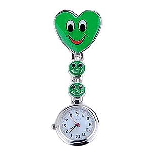 Neue Mädchen Süßes Lächeln Uhr mit Herz-Anhänger Krankenschwester Uhr Schwester Taschenuhr schönes Geschenk Grün