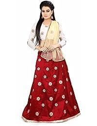 Shree Rang Creation Women's Maroon Taffeta Silk Designer Lehenga Choli(AFL-05_Maroon_Free Size)