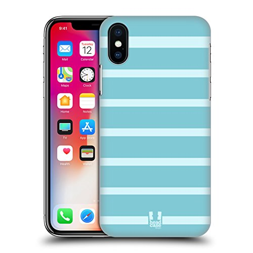 Head Case Designs Blu E Bianco Strisce Cover Retro Rigida per Apple iPhone X Baby Blu E Bianco