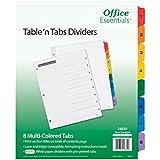 """Office Essentials Table 'n Tabs Dividers, 8-1/2"""" x 11"""", 1-8 Tab, Multicolor Tab, Laser/Inkjet, 6 Pack (24839)"""