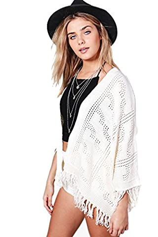 Cream Womens Kelly Tassel Trim Cardigan - S-M