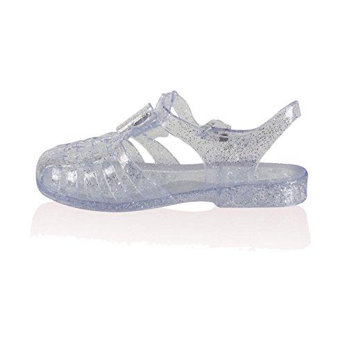 Retro Jelly Sandali Donna Ragazze Estate Spiaggia Infradito Piatte Scarpe Taglia Clear See Through Glitter / Silver Diamante Bow