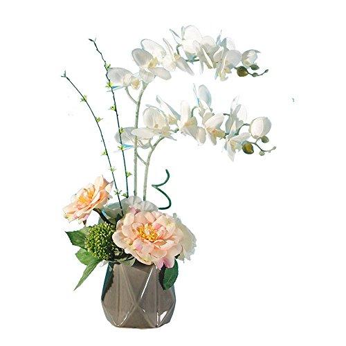 Jnseaol fiori artificiali fiori artificiali fiori finti farfalla orchidee soggiorno davanzale festa di nozze cucina decorazione della casa vaso di ceramica vacanza regalo in vaso bianco