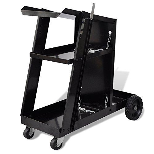 vidaXL Chariot pour poste de soudure avec 3 étagères Noirpas cher