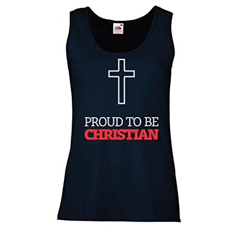 lepni.me Serbatoio,Maglietta Senza Maniche Femminile Orgoglioso di Essere Cristiano! Dio AMA ognuno di noi - Unici Doni Religiosi Azzulo Multicolore