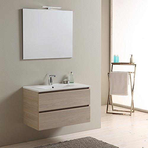 Mobile bagno 80 cm con cassetti berlin olmo leone lavabo in ceramica luce a led