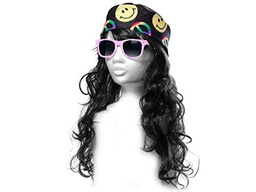 Alsino Hippie Outfit Flower Power Accessoires 70er Jahre (Kv-83) Perücke mit Smiley Stirnband und...