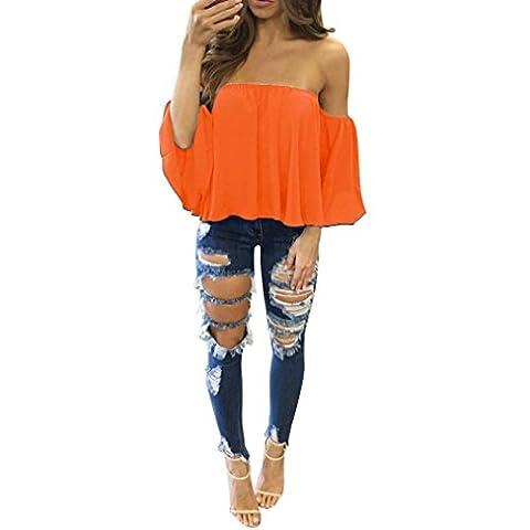 LONUPAZZ t-shirt à manches longues femmes chemisier en mousseline Off Shoulder Tops (L, Orange)