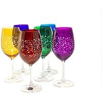 Set di 6bicchieri da vino rosso o bianco, incisione, senza
